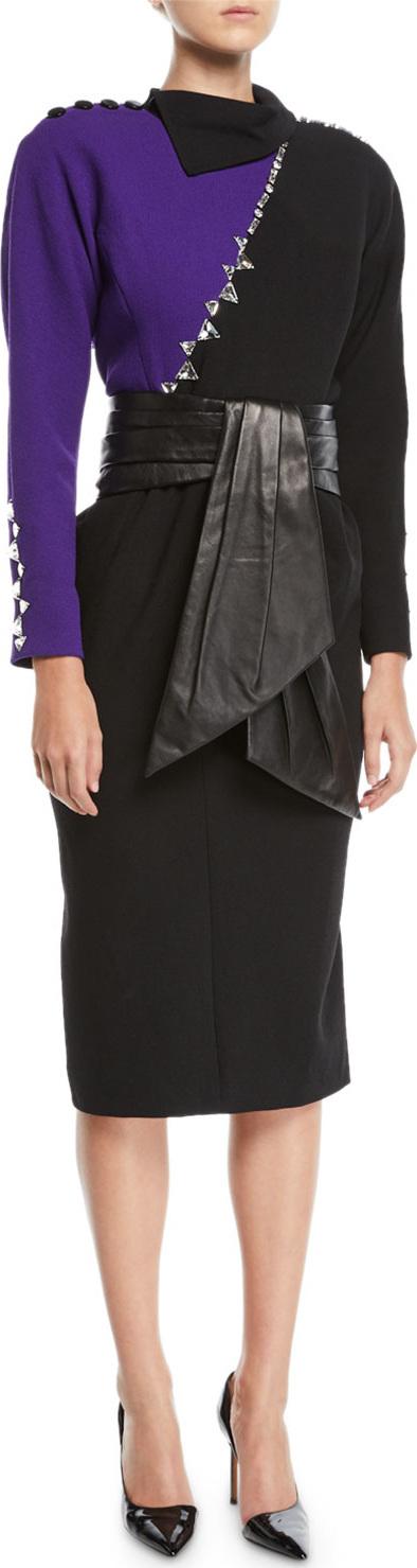MARC JACOBS Long-Sleeve Crystal-Beading Colorblock Sheath Dress w/ Leather Cummerbund Belt