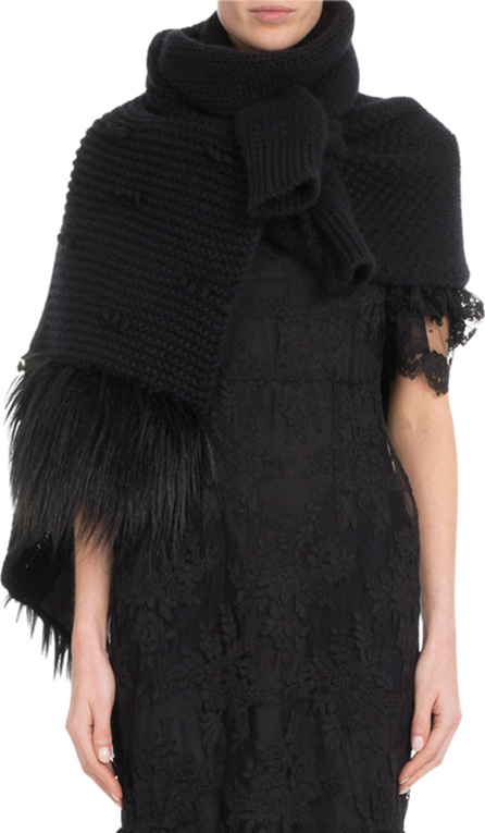 Simone Rocha Patchwork Knit Scarf w/ Faux-Fur