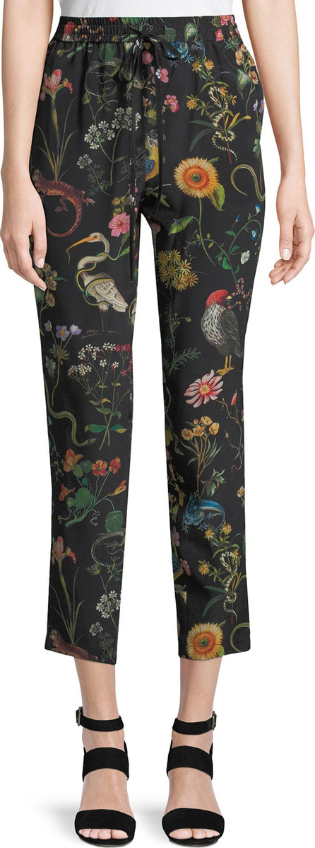 Floral-printed silk pants Red Valentino ZuK2Tvl