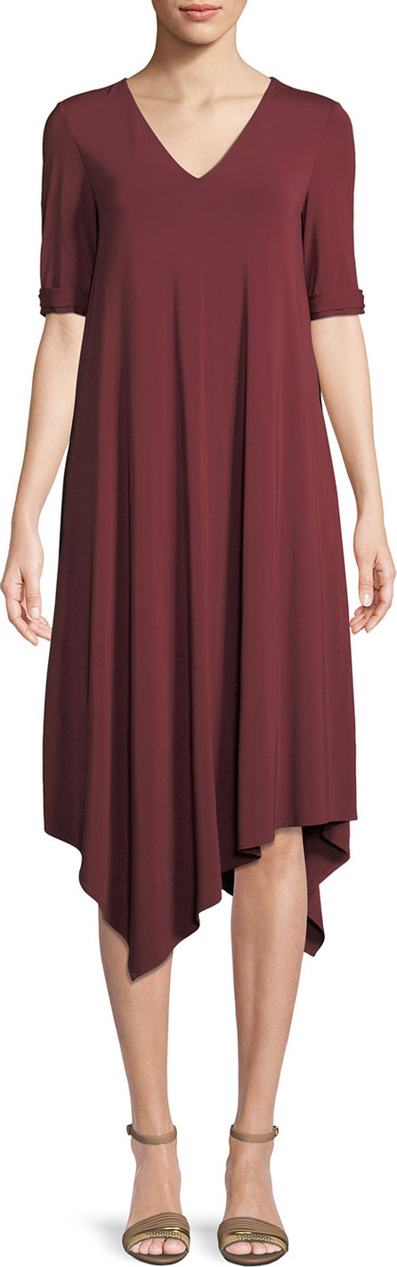 Lafayette 148 New York Noor Cultivated Crepe Jersey Tie-Cuff Dress