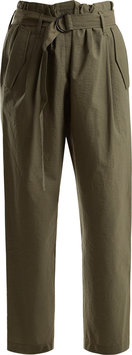 Brunello Cucinelli Paperbag-waist cropped cotton-blend trousers