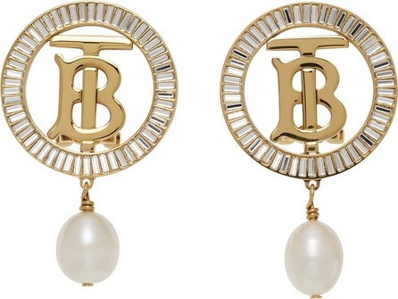 Burberry London England Gold TB Pearl Earrings