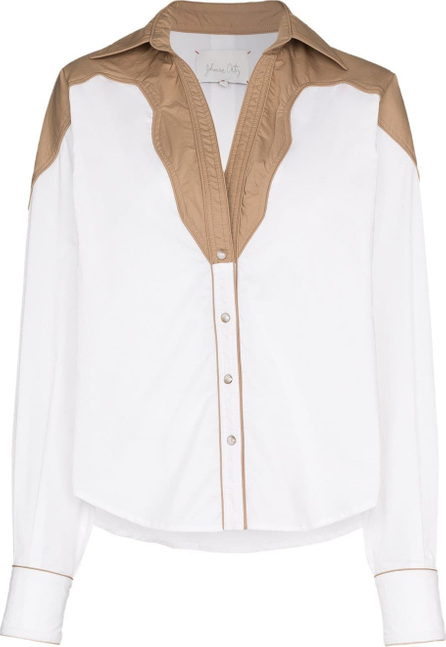 Johanna Ortiz Maple contrast collar cotton blend shirt