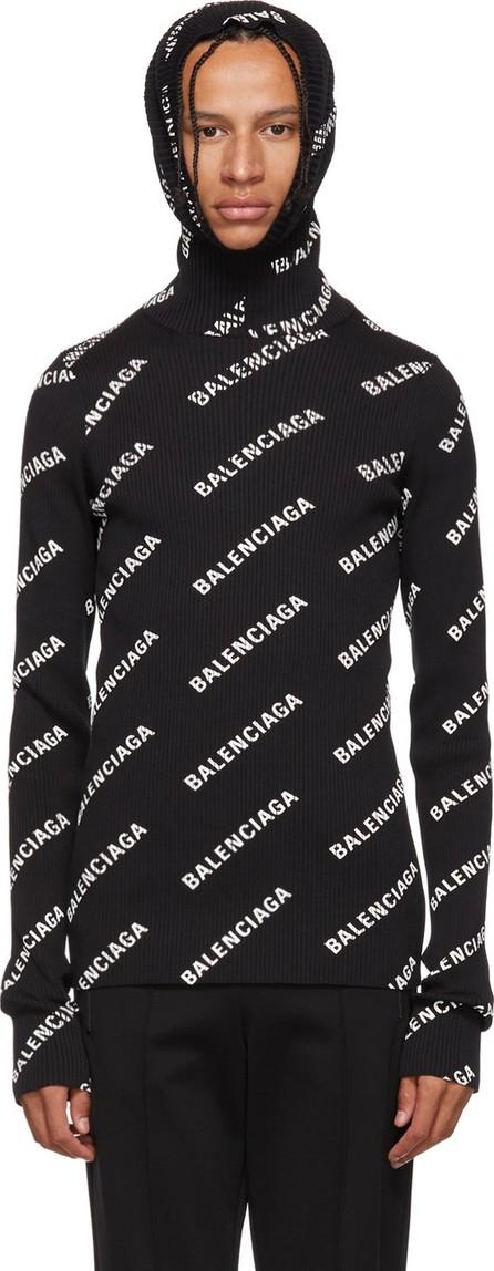 Balenciaga Black Logo Hoodie Turtleneck