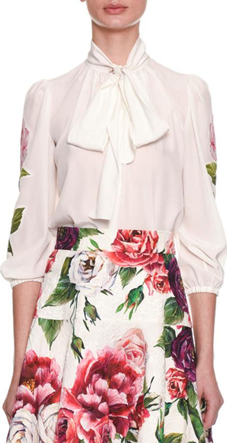 Dolce & Gabbana Tie-Neck 3/4 Sleeve Crepe de Chine Blouse w/ Floral Appliqué
