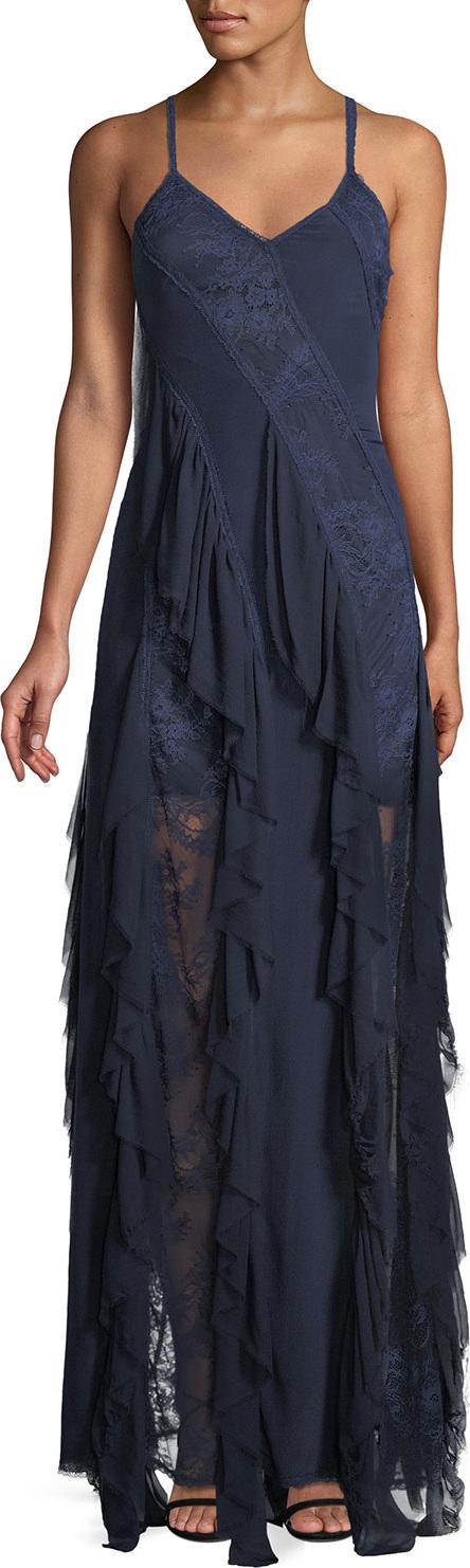 Alice + Olivia - Jayda Sleeveless Ruffle Silk Godet Maxi Dress