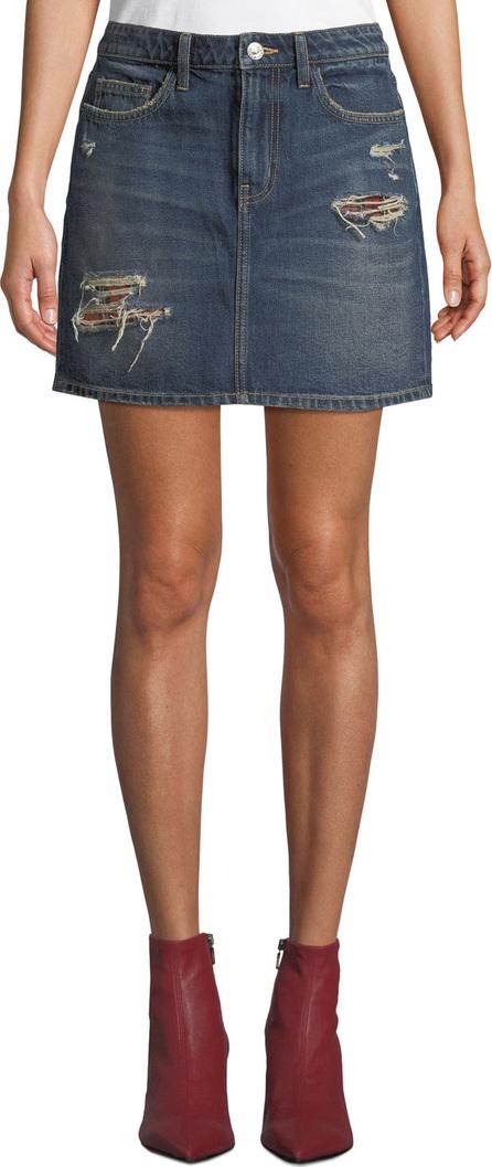 Current/Elliott The 5-Pocket Distressed Denim Mini Skirt