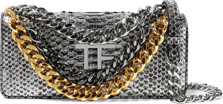 TOM FORD Embellished metallic python shoulder bag
