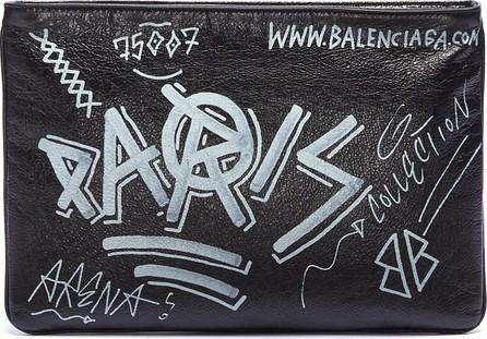 Balenciaga 'Explorer' graffiti print leather pouch