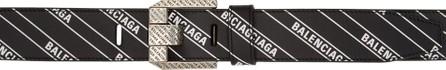Balenciaga Black Stripe Logo Engraved Buckle Belt