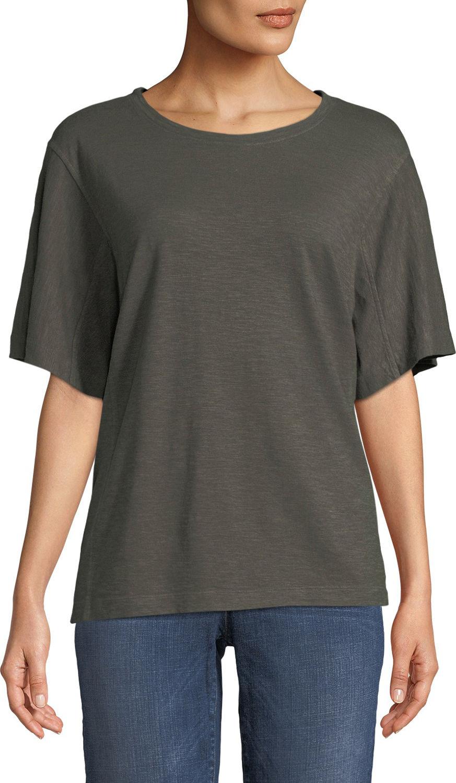 Eileen Fisher - Short-Sleeve Hemp-Cotton Twist Top