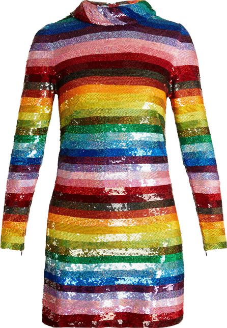 ASHISH Rainbow-striped sequin-embellished silk mini dress