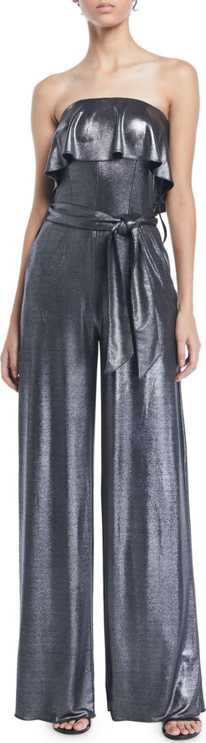 19a0875f0d6e Carolina Ritzler Julie Ruffle Strapless Wide-Leg Metallic-Jersey Jumpsuit
