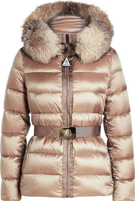 Moncler Down Jacket with Fur-Trimmed Hood