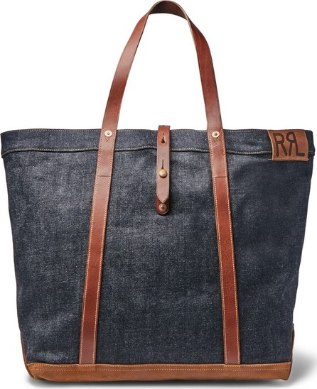 Rrl Howard Leather-Trimmed Denim Tote Bag