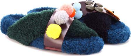 Fendi Fur and leather slip-on sandals