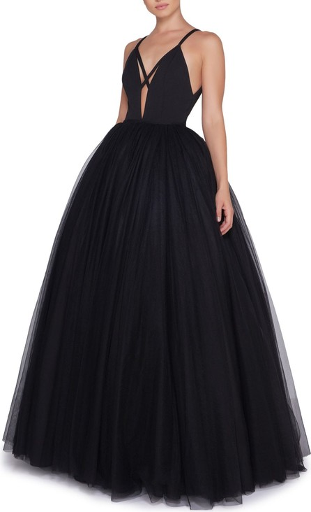 Ieena for Mac Duggal Plunge-Neck Strappy Tulle Ball Gown