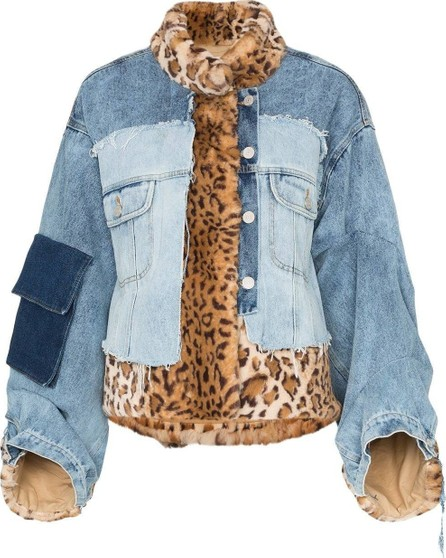 Natasha Zinko faux fur patchwork denim jacket