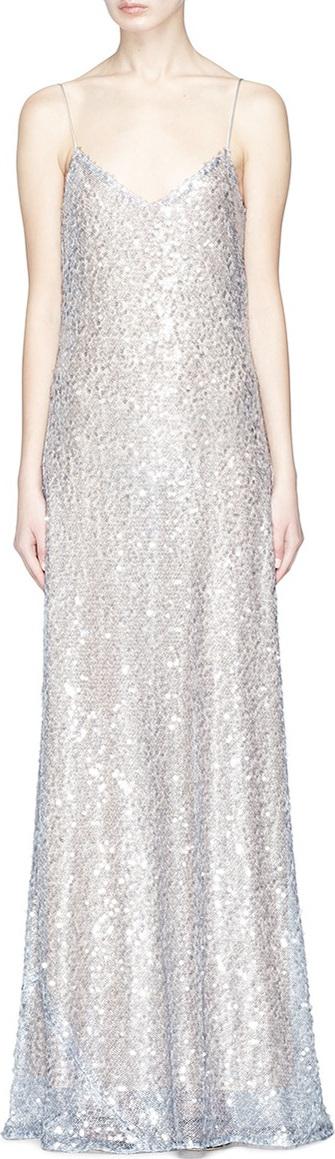 Galvan 'Estrella' paillette tulle maxi slip dress