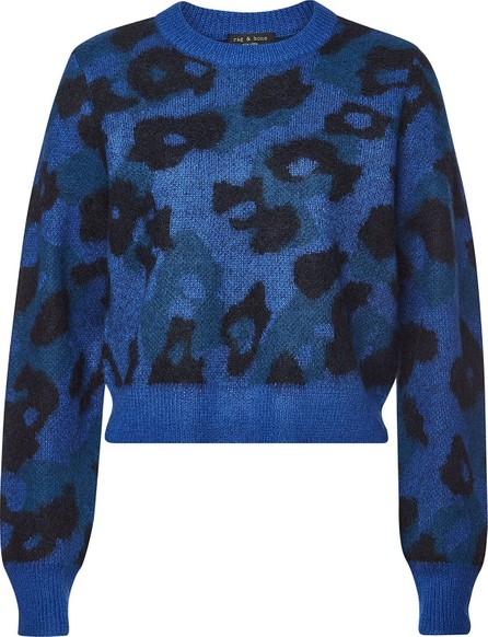 Rag & Bone Leopard Crew Pullover with Mohair and Alpaca
