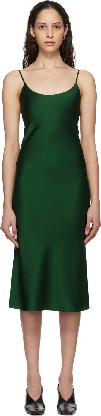 Christopher Esber Green Tie Back Bias Slip Dress