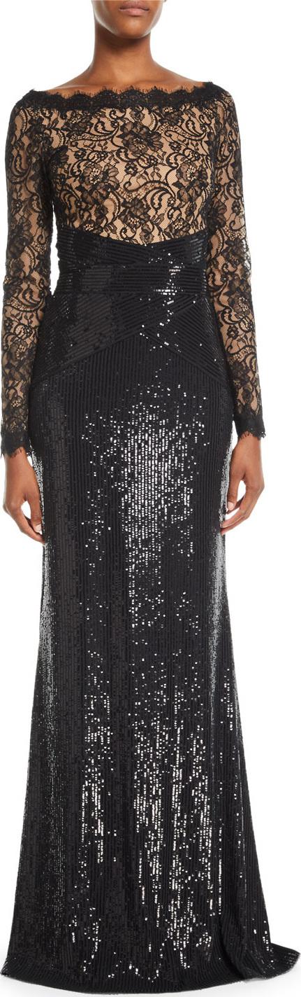 Tadashi Shoji Long-Sleeve Lace & Sequin Gown w/ Train