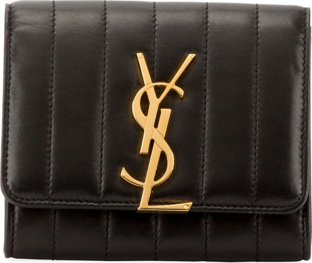 Saint Laurent Vicky Quilted Leather French Flap Organizer Wallet