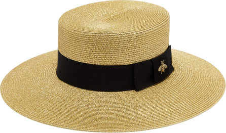 Gucci Bee-embroidered straw boat hat