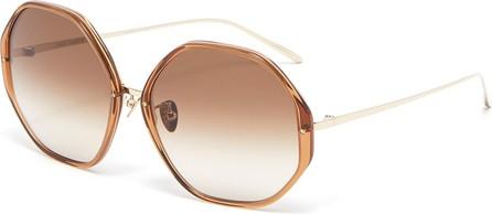 Linda Farrow Alona hexagonal acetate frame metal temples sunglasses
