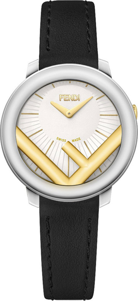 Fendi 28mm Run Away Watch with Leather Strap, Black/Golden