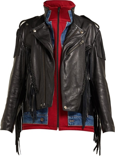 Balenciaga Layered-effect fringed leather biker jacket