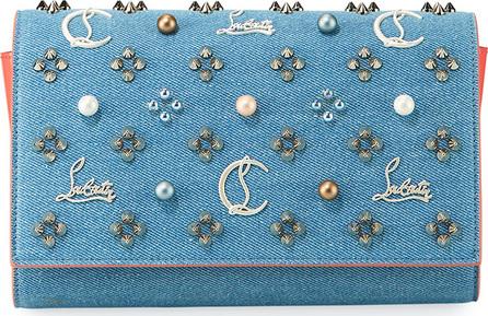 Christian Louboutin Paloma Loub In The Sky Denim Embellished Clutch Bag