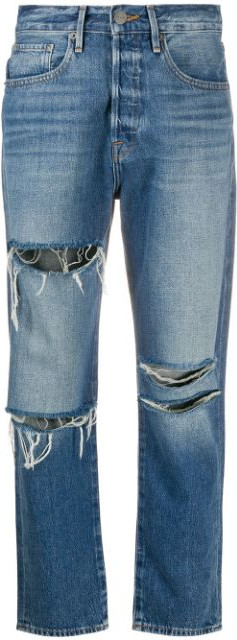 FRAME DENIM Ripped high-rise boyfriend jeans