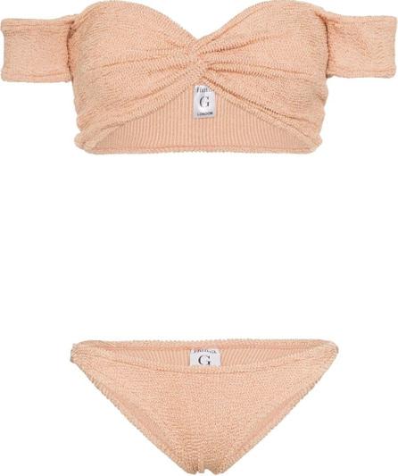 Hunza G Brigitte knotted off-shoulder bikini