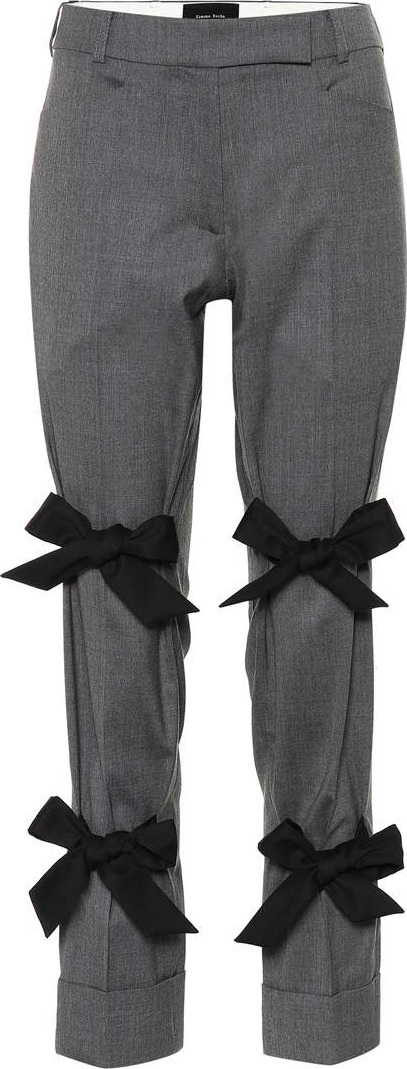 Simone Rocha Bow-trimmed stretch wool pants