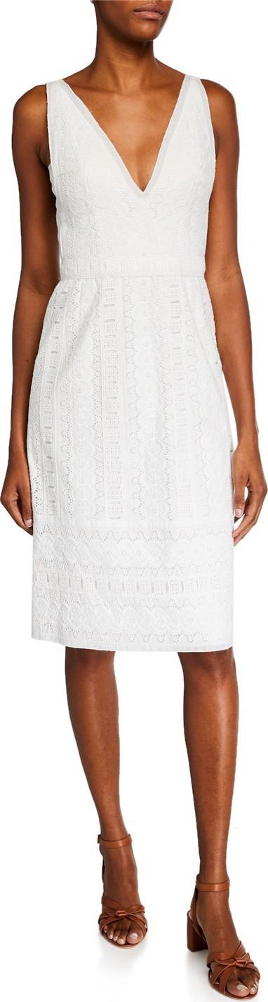 Catherine Deane Mateo V-Neck Sleeveless Cotton Lace Dress