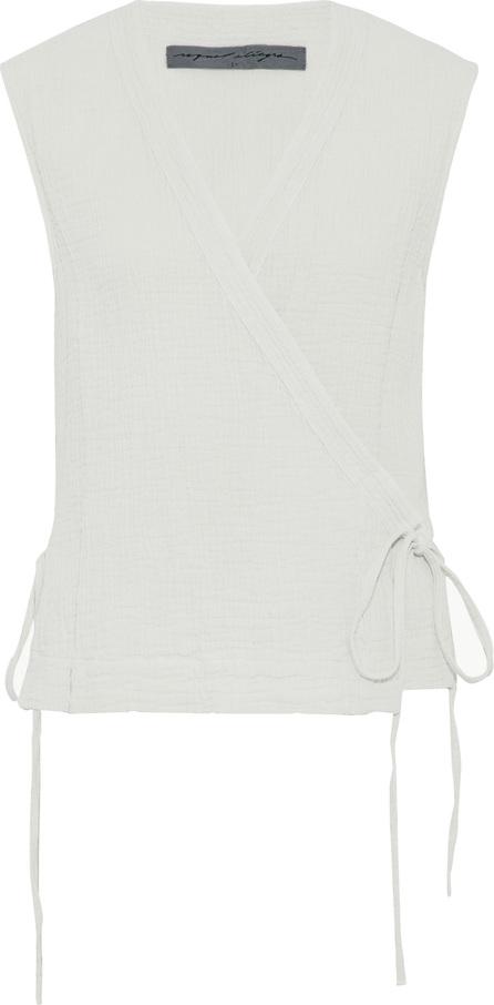 Raquel Allegra Crinkled cotton-gauze wrap top