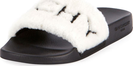Givenchy Shearling Pool Slide Sandals