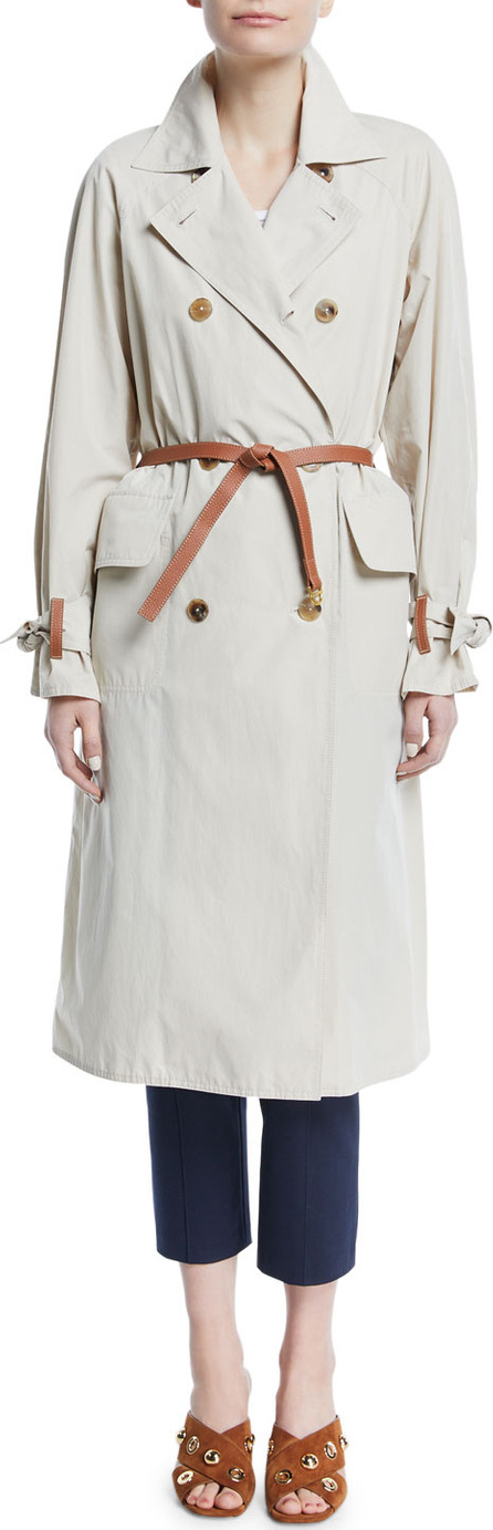 Tory Burch Marielle Trench Coat with Leather Belt