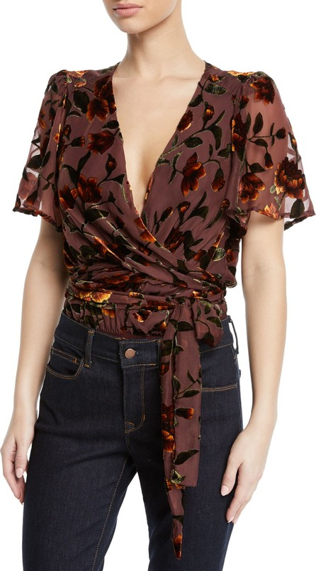 ASTR Veda Floral Velvet Wrap-Front Bodysuit