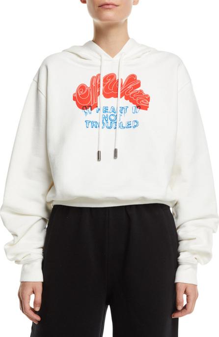 Off White Heart Not Troubled Logo Crop Hoodie Sweatshirt