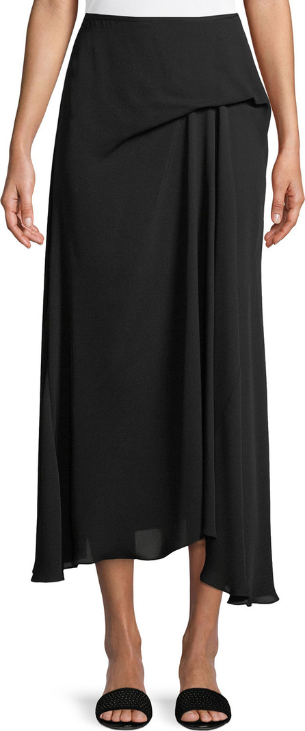 Theory Side-Drape Classic Silk Georgette Midi Skirt