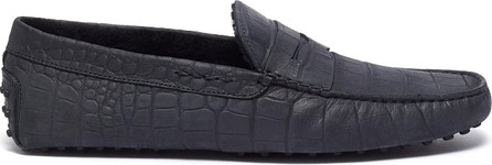 Tod's 'City Gommino' croc embossed leather driving shoes