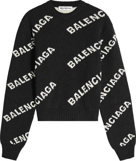 Balenciaga Jacquard Logo Cropped Pullover with Wool