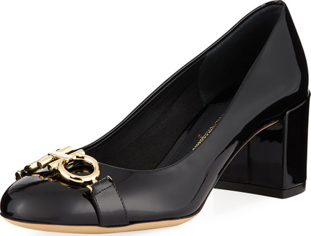 Salvatore Ferragamo Gancini Patent 55mm Pump, Nero