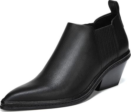 Via Spiga Farly Pleated Leather Block-Heel Booties