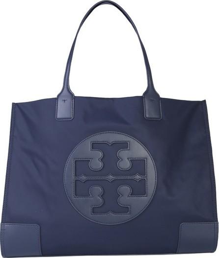 Tory Burch Ella Blue Navy Nylon & Leather Tote Bag