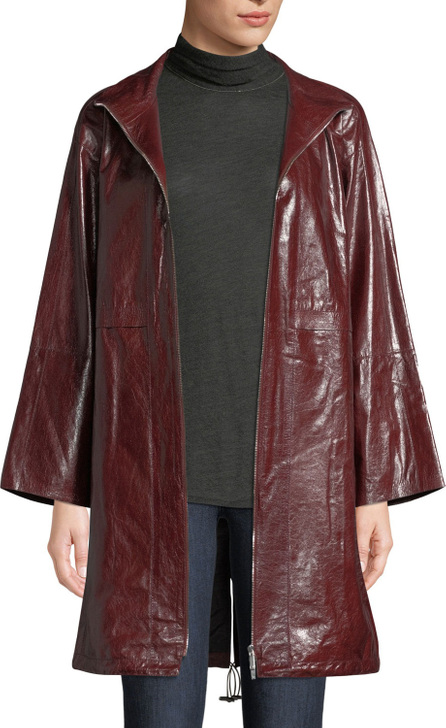 Lafayette 148 New York Minerva Zip-Front Lacquered Lambskin Leather Jacket