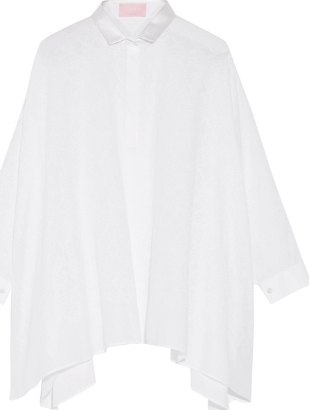 GIAMBA Oversized embroidered cotton-blend poplin top