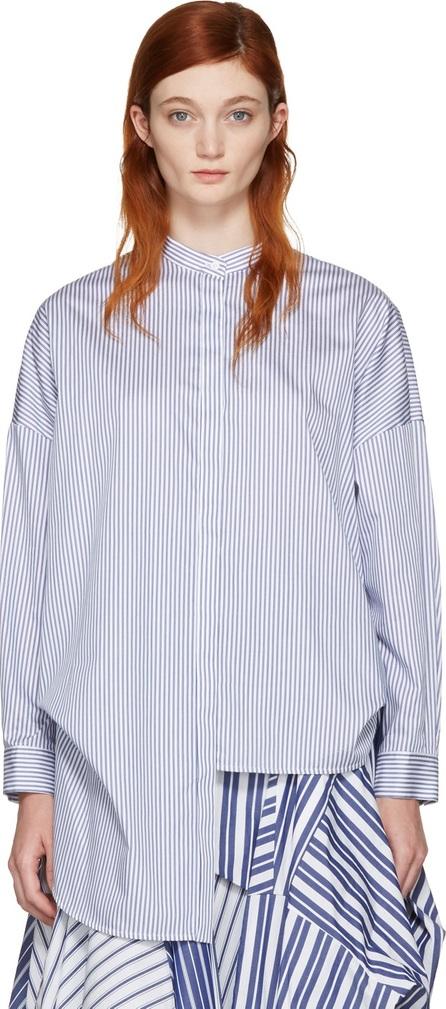 Enfold White & Navy Cropped Back Shirt